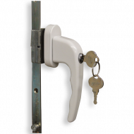 Ebco Mortize Window Handle with Lock Frosty White AWH-DML2