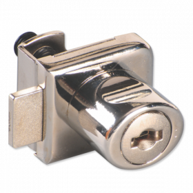 Ebco Single Glass Door Lock Nickel Plated 12mm P-GDLD2