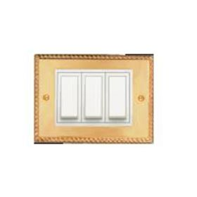 Anchor Roma Classic Gold Plate With White Frame 3 Module Plate 21893GD - Pack of 5