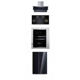 Hafele Teresa-90 90cm Wall Mounted Hood + Zeta 480 Built-in Hob + J32MWO Built-in Microwave + J70Bio Built-in Oven + ARG550NF Refrigerator