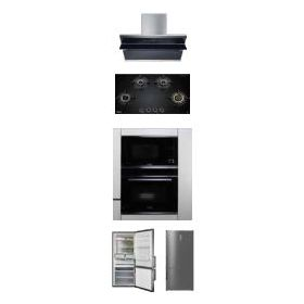 Hafele Teresa-90 90cm Wall Mounted Hood + Zeta 480 Built-in Hobs + J32MWO Built-in Microwave + J70Bio Built-in Oven + ARG468NF Refrigerator