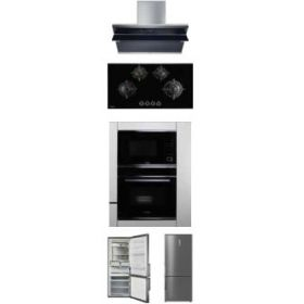Hafele Teresa-90 90cm Wall Mounted Hood + Corona 490 Built-in Hobs + J32MWO Built-in Microwave + J70Bio Built-in Oven + ARG468NF Refrigerator