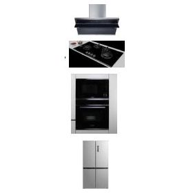 Hafele Teresa-90 90cm Wall Mounted Hood + Corona 490 Built-in Hobs + J32MWO Built-in Microwave + J70Bio Built-in Oven + ARG650NF Refrigerator